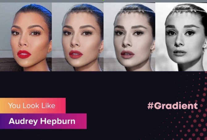 Audrey Hepburn gradient look like app
